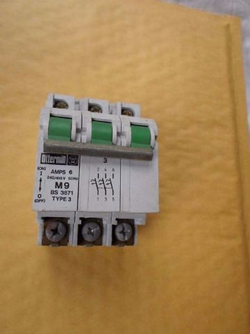 OTTERMILL SYSTEM T 6 AMP TYPE 3 BS3871 TRIPLE POLE  MCB CIRCUIT BREAKER